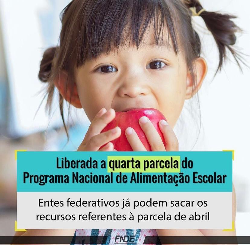 Liberada a quarta parcela do Programa Nacional de Alimentação Escolar