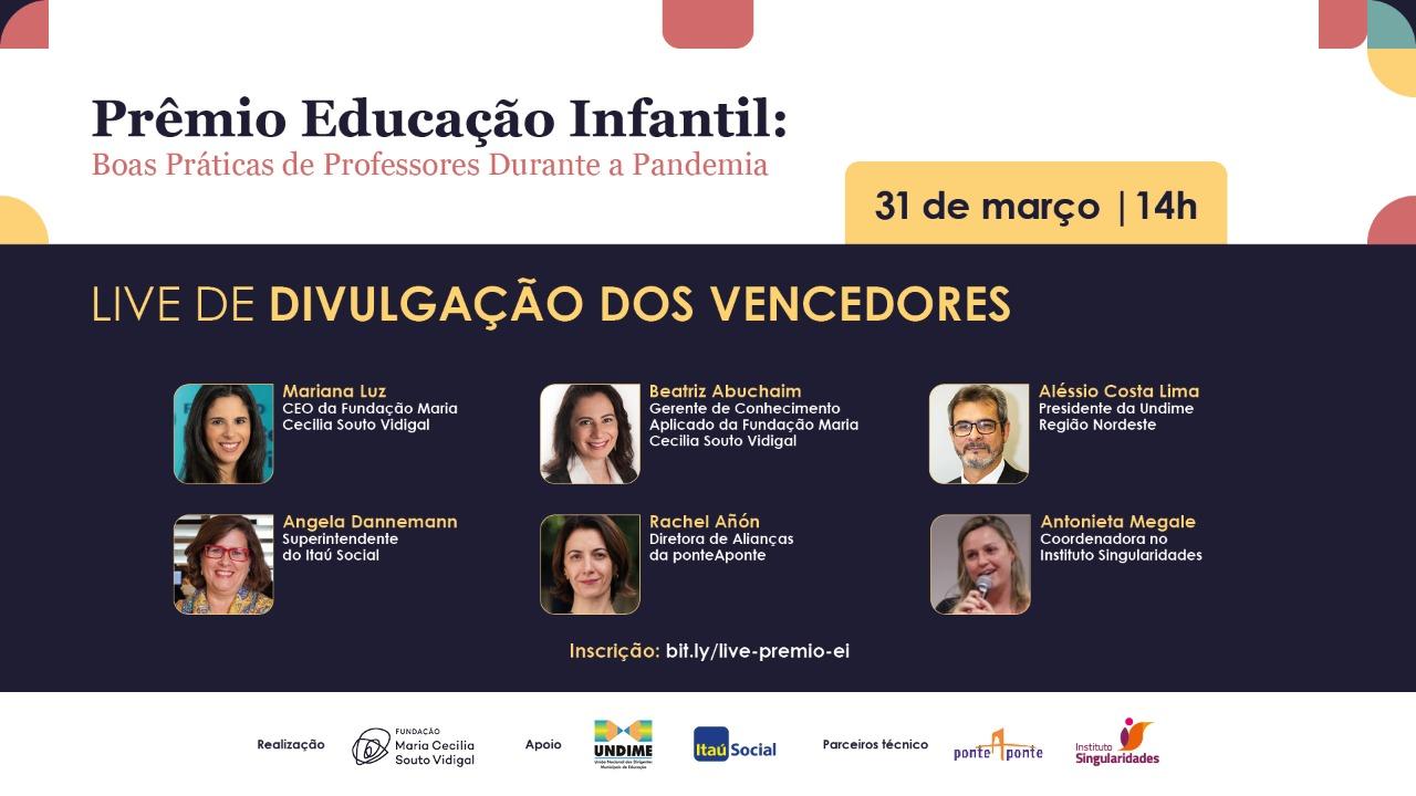 Assista à live de divulgação dos vencedores do Prêmio Educação Infantil