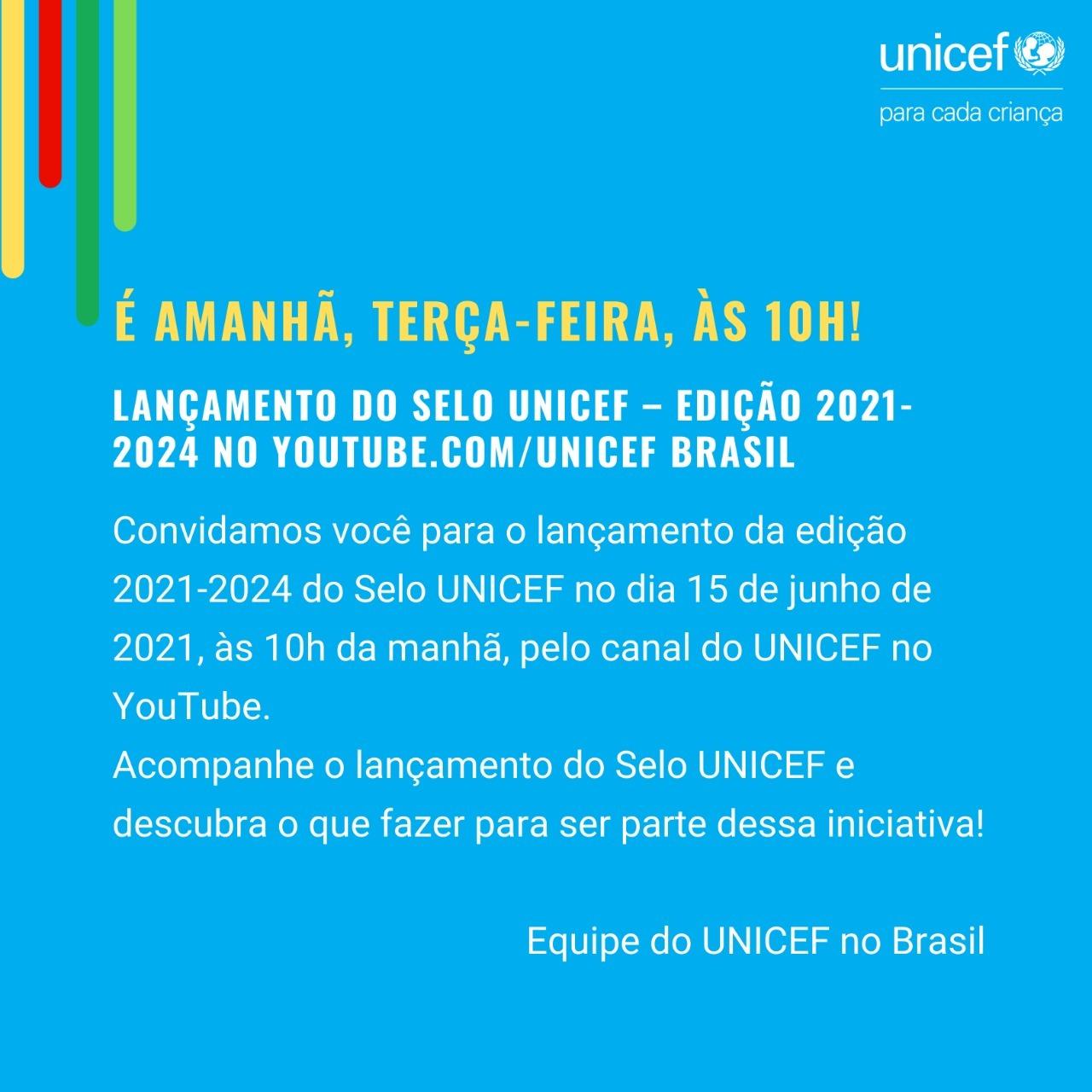 Lançamento do Selo UNICEF 2021-2024 é nesta terça-feira