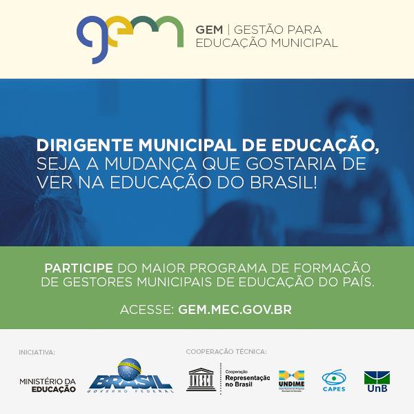 Gestão para a Educação Municipal: inscrição para o curso de aperfeiçoamento vai até 16 de abril