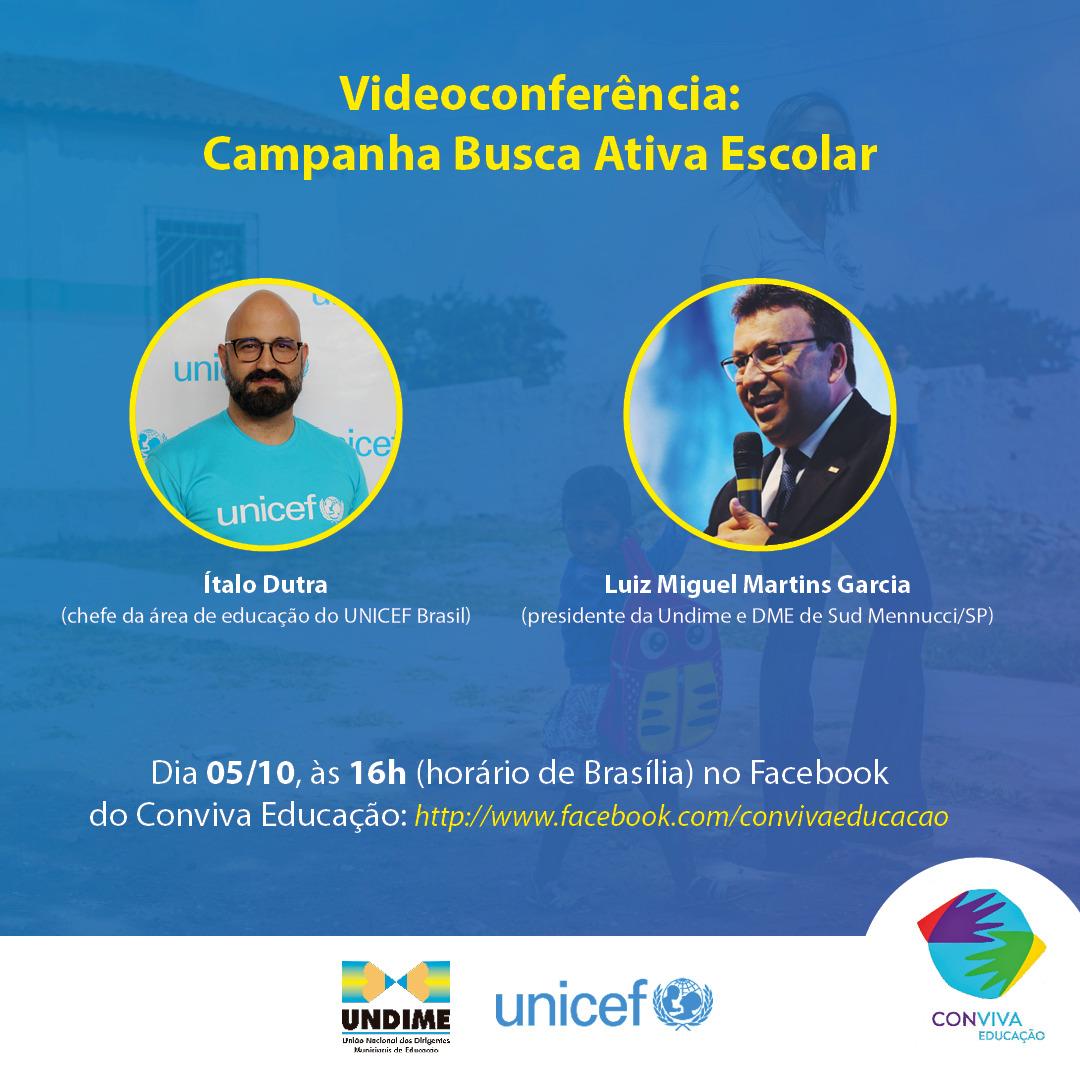 Undime e UNICEF realizam videoconferência sobre a campanha de comunicação da Busca Ativa Escolar