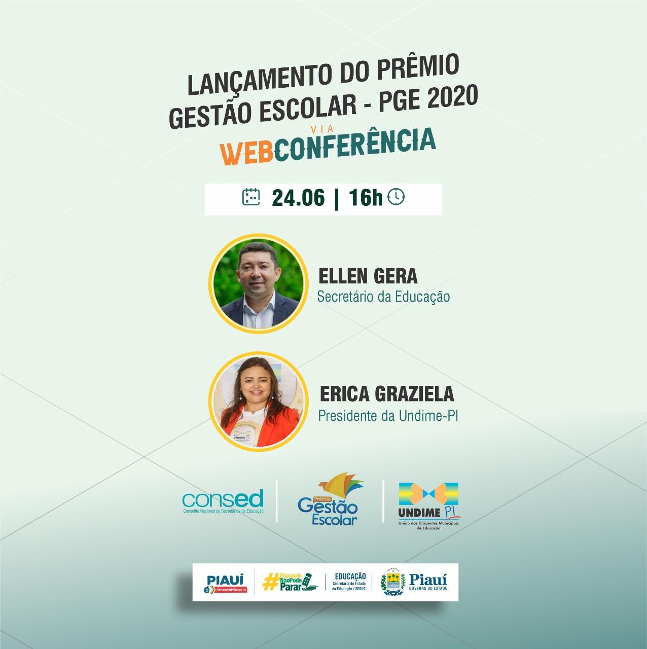 Undime-PI participa do lançamento da etapa Estadual do Prêmio Gestão Escolar 2020 em live realizada pela Seduc