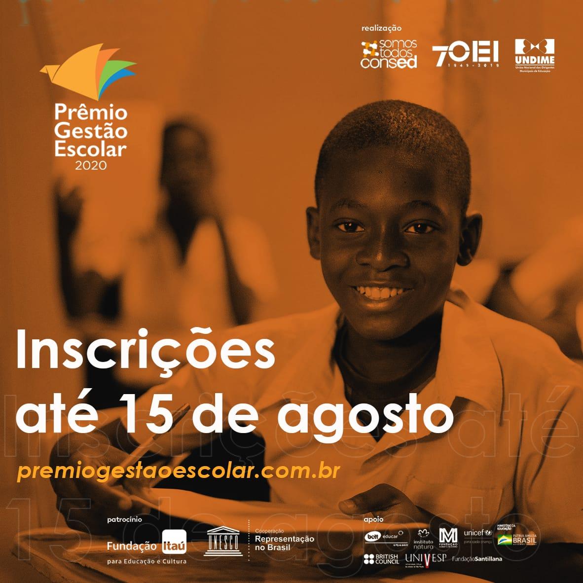 Inscrições para o Prêmio Gestão Escolar 2020 estão abertas até 15 de agosto