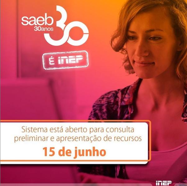 Sistema Saeb está aberto para consulta de resultados preliminares e interposição de recursos até 15 de junho