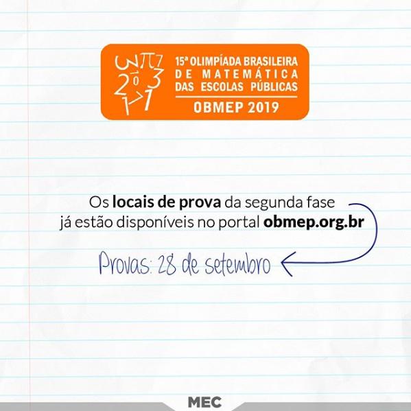 Olimpíada de Matemática: estudantes já podem consultar locais de provas da 2ª etapa