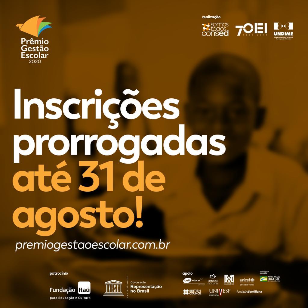 Prorrogadas as inscrições para o Prêmio de Gestão Escolar 2020
