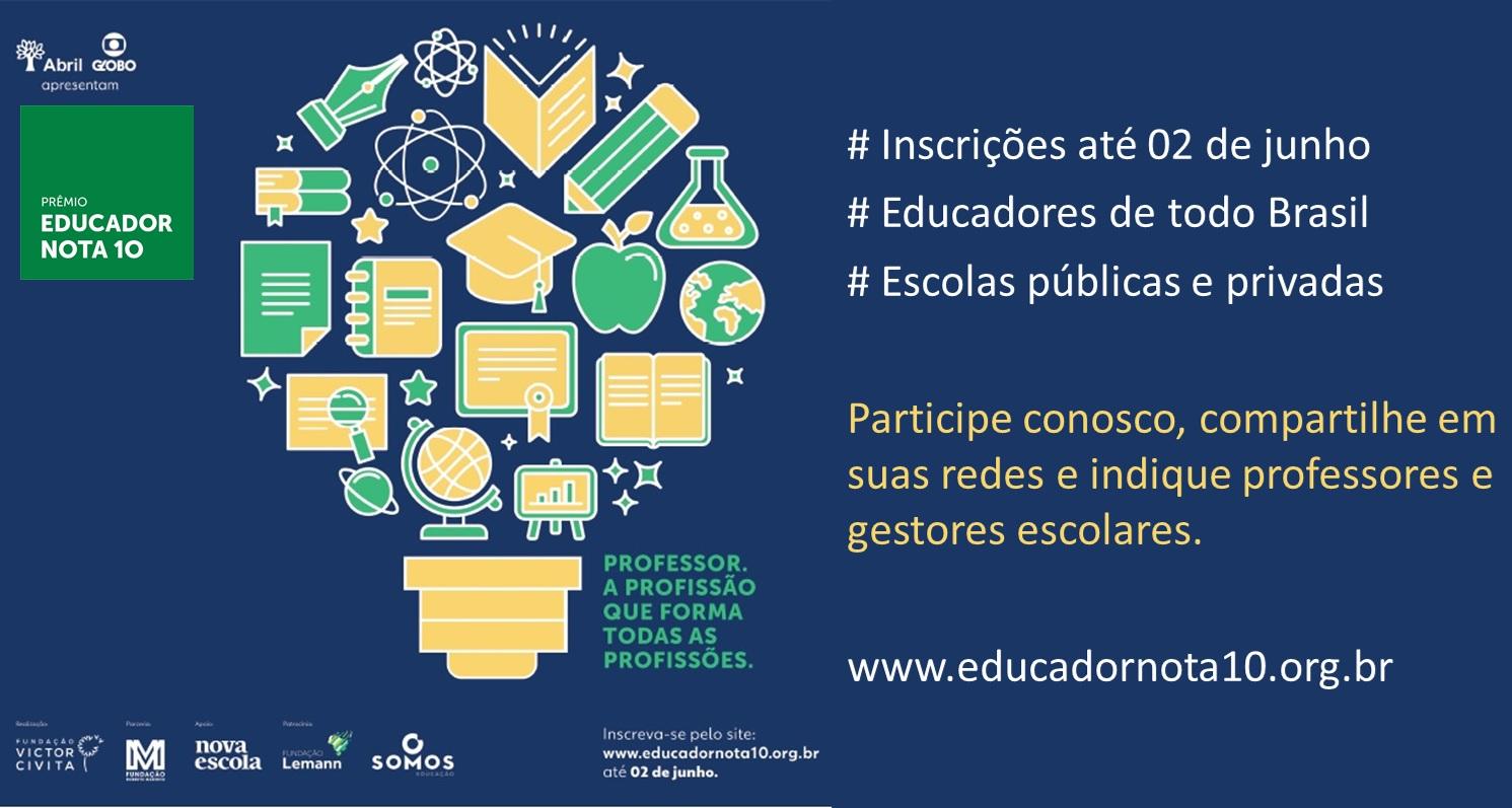 Prêmio Educador Nota 10: inscrições até 2 de junho!