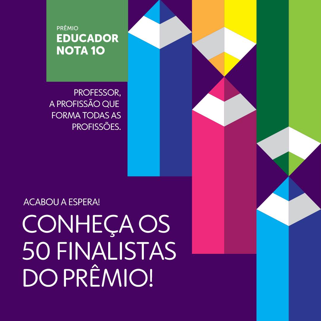 Prêmio Educador Nota 10 divulga relação dos 50 finalistas da edição 2020