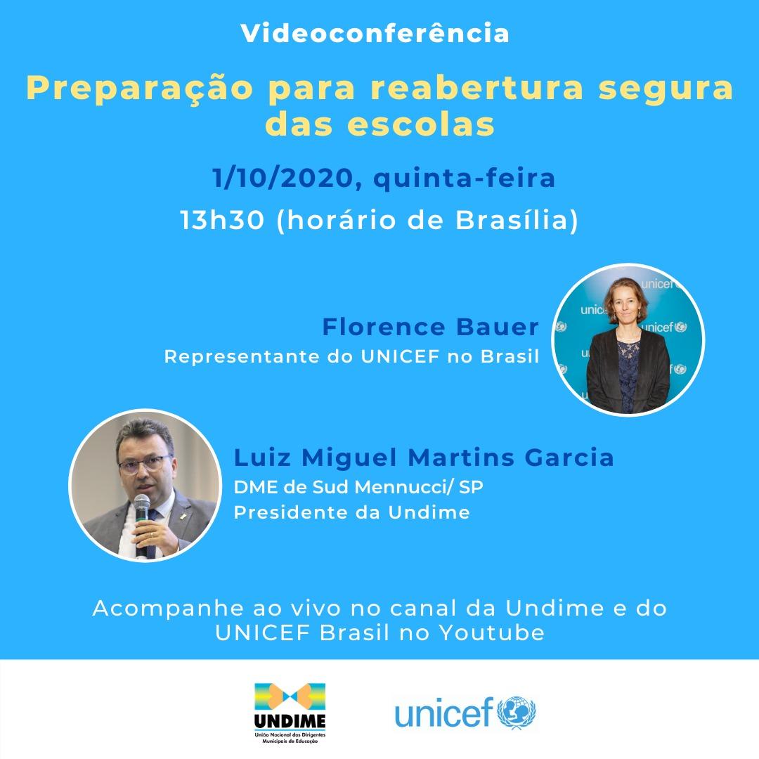 Undime e UNICEF realizam videoconferência sobre a preparação para a reaberturaseguradas escolas