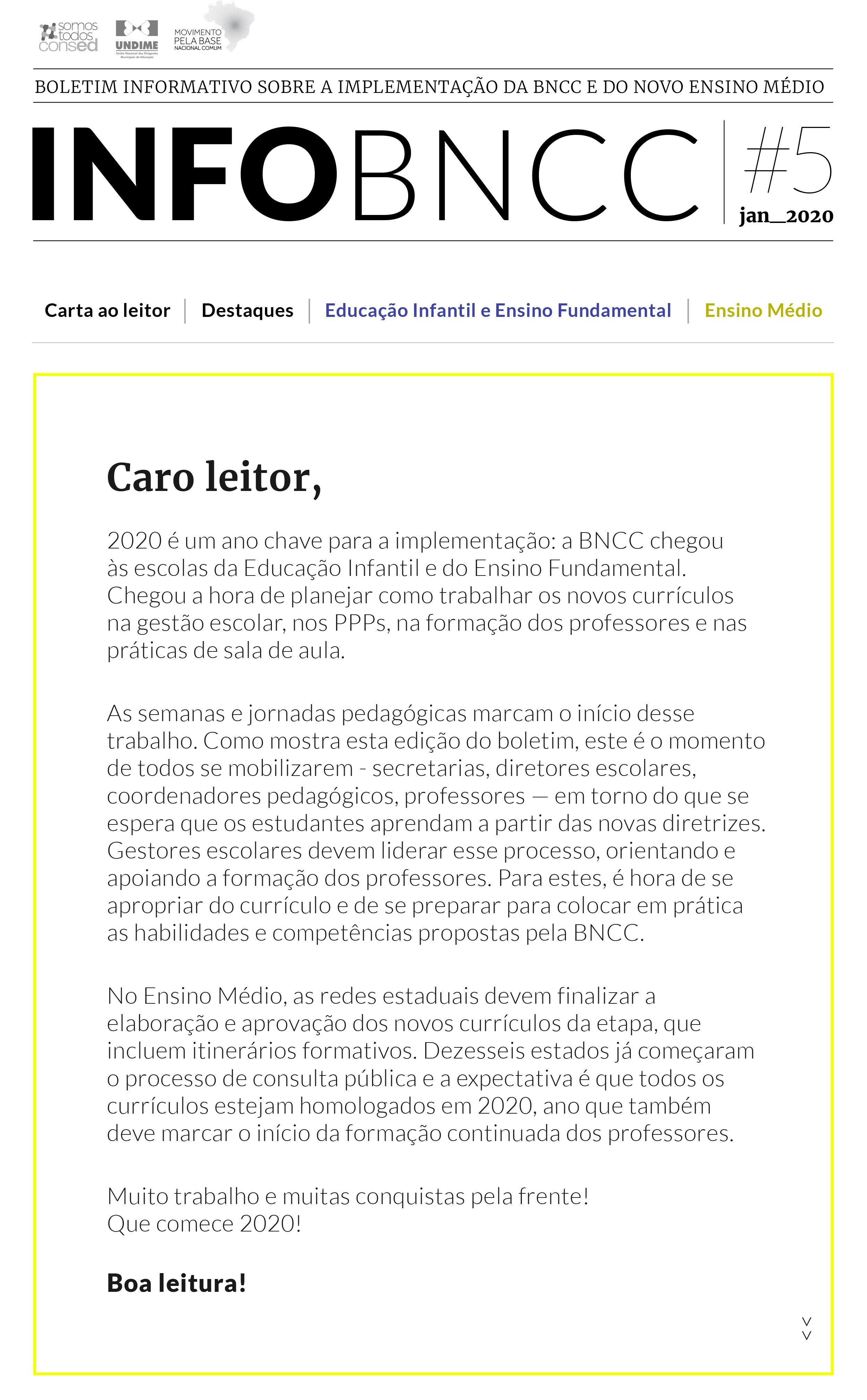 Confira a 5ª Edição do boletim InfoBNCC