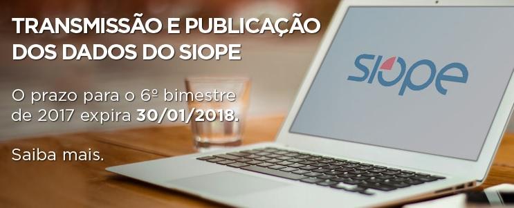 Siope: prazo para transmissão e publicação dos dados termina no dia 30 de janeiro