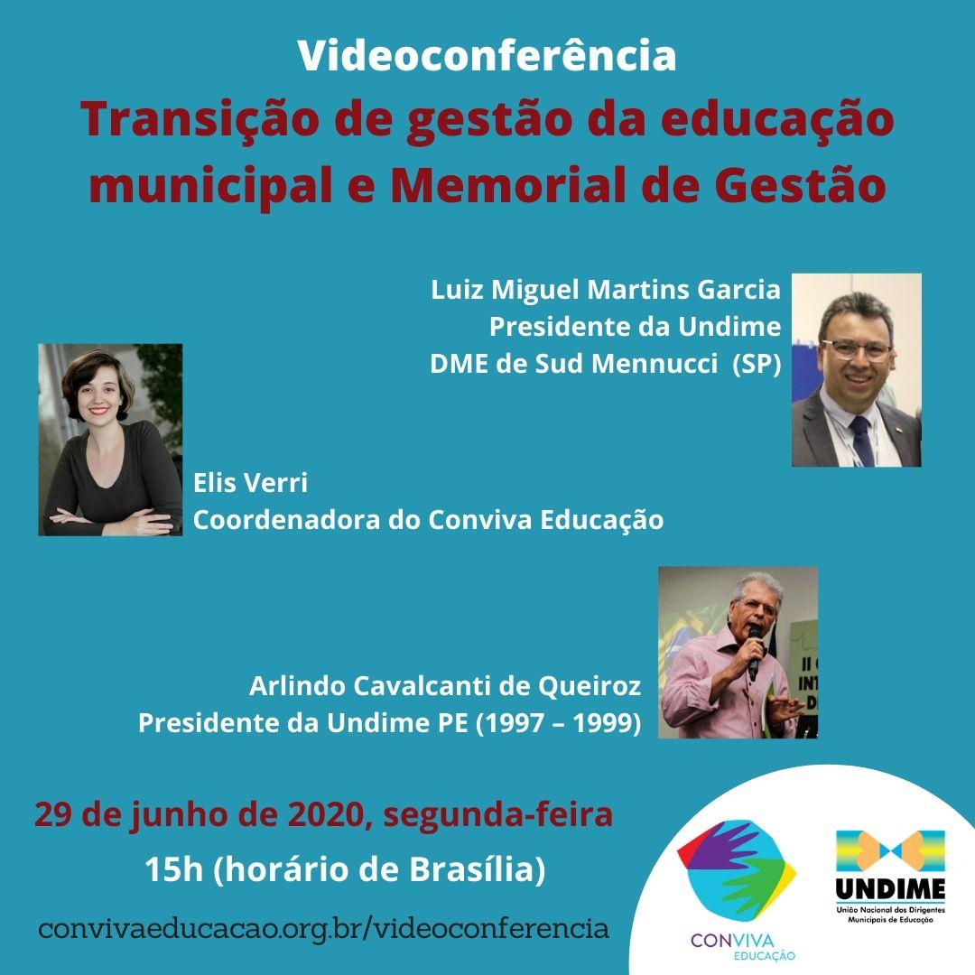 Conviva realiza videoconferência sobre transição de gestão da educação municipal e Memorial de Gestão