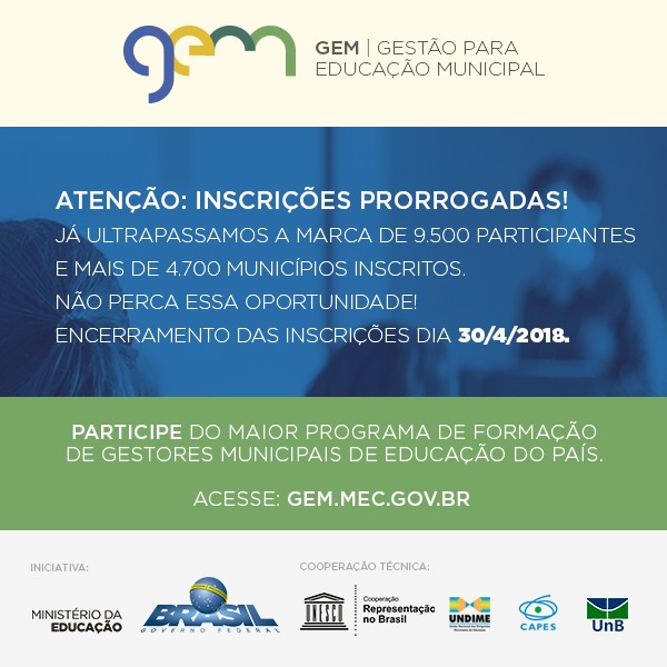 Gestão para a Educação Municipal (GEM): inscrições para o curso de aperfeiçoamento podem ser realizadas até 30 de abril