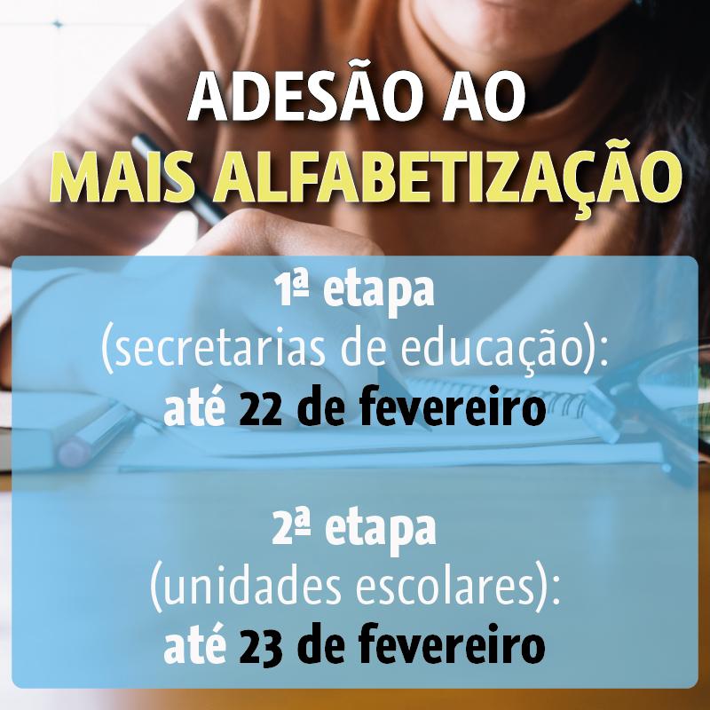 Secretarias de educação têm até 22 fevereiro para aderir ao Mais Alfabetização