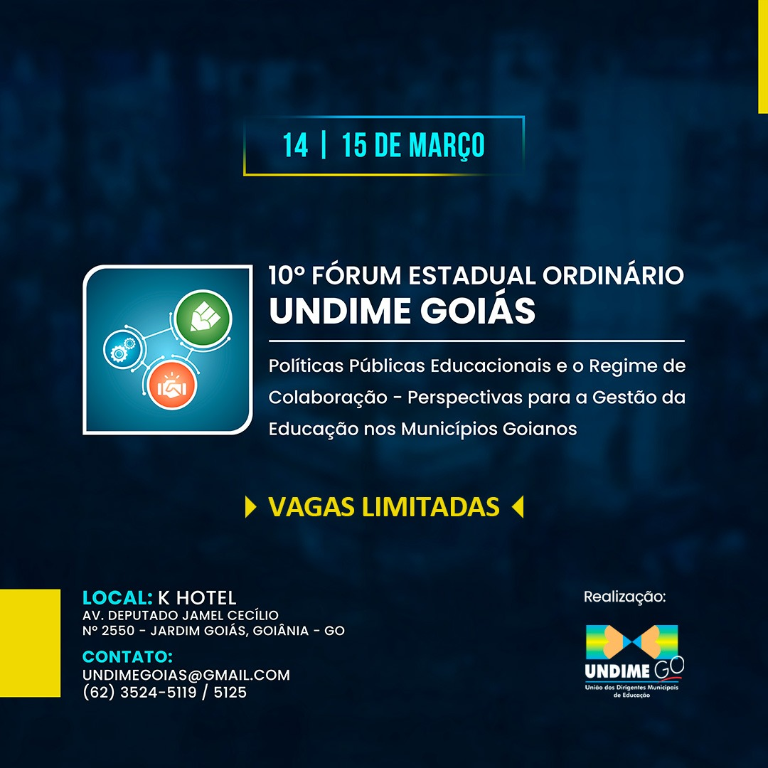 Fórum da Undime Goiás será realizado nos dias 14 e 15 de março