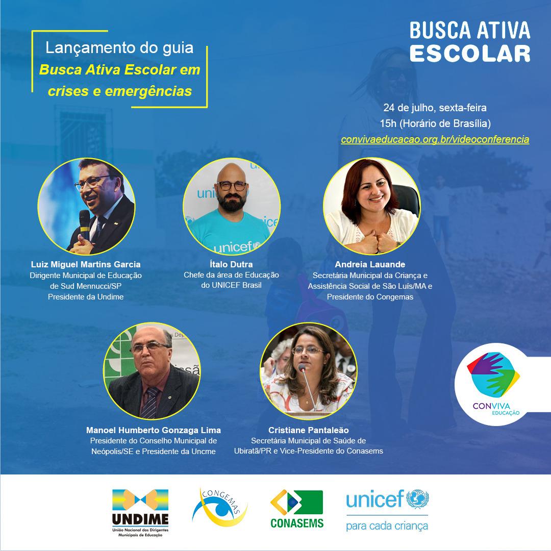 Videoconferência: lançamento do guia Busca Ativa em Crises e Emergências