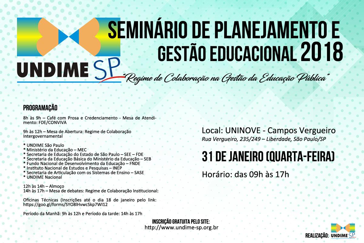 Undime SP realizará seminário técnico de planejamento e gestão educacional no dia 31 de janeiro