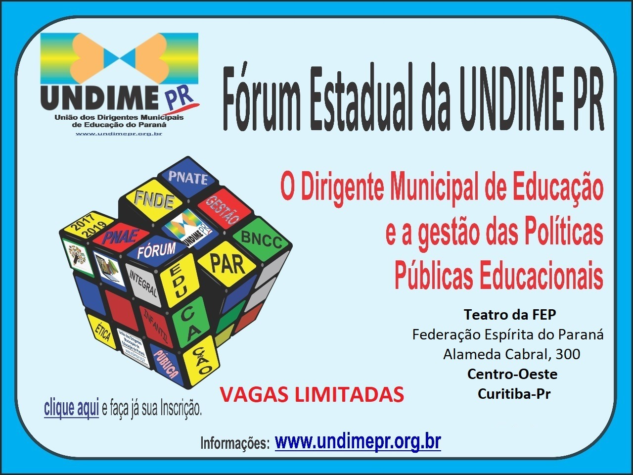 Undime Paraná promoverá Fórum Estadual, em Curitiba, nos dias 3 e 4 de abril