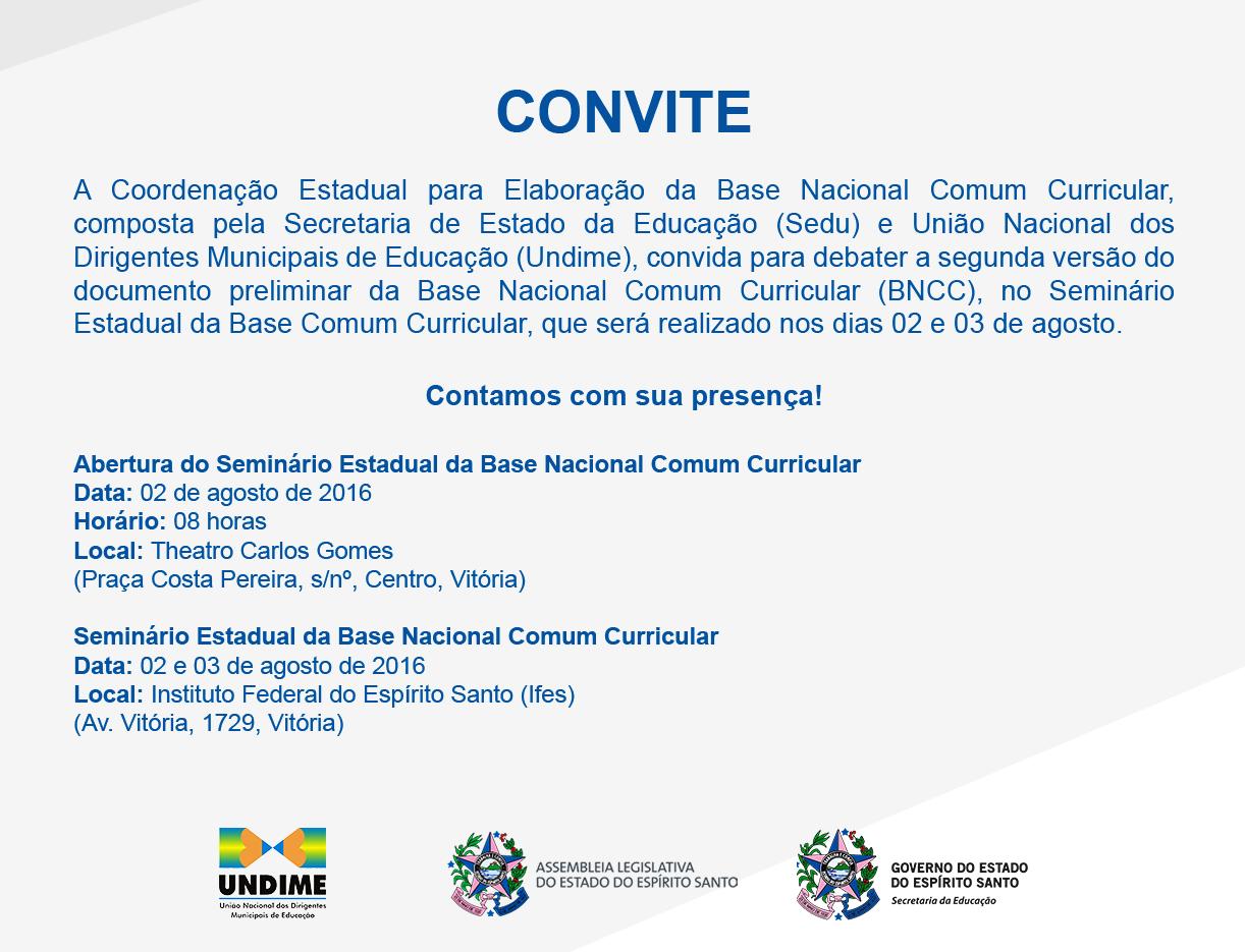 Convite para Seminário da Base Nacional Comum Curricular no Espírito Santo