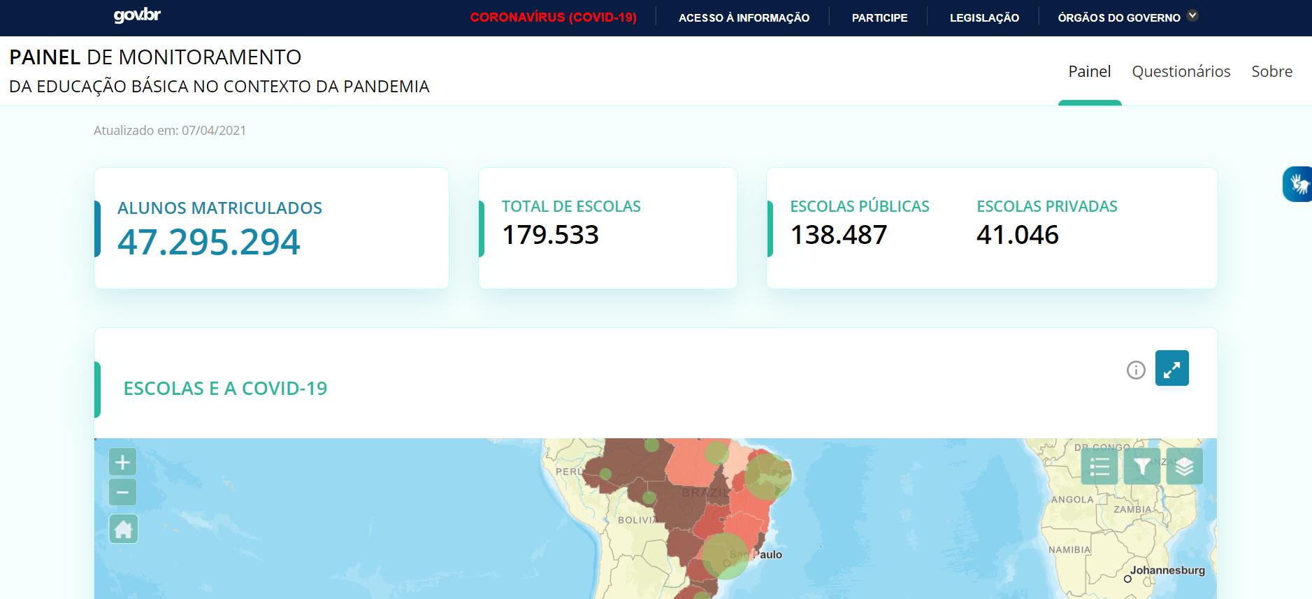 MEC lança Painel de Monitoramento da Educação Básica no Contexto da Pandemia