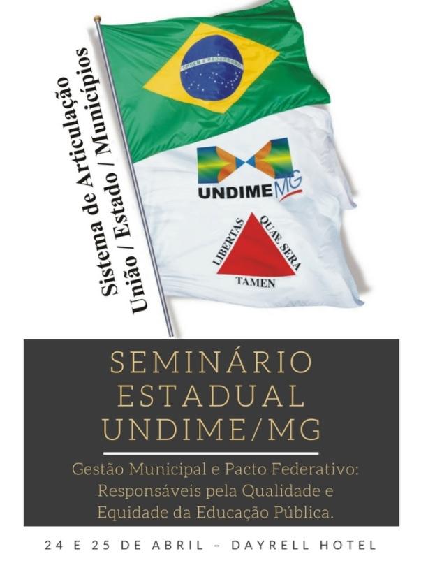 Undime Minas Gerais realizará seminário estadual nos dias 24 e 25 de abril