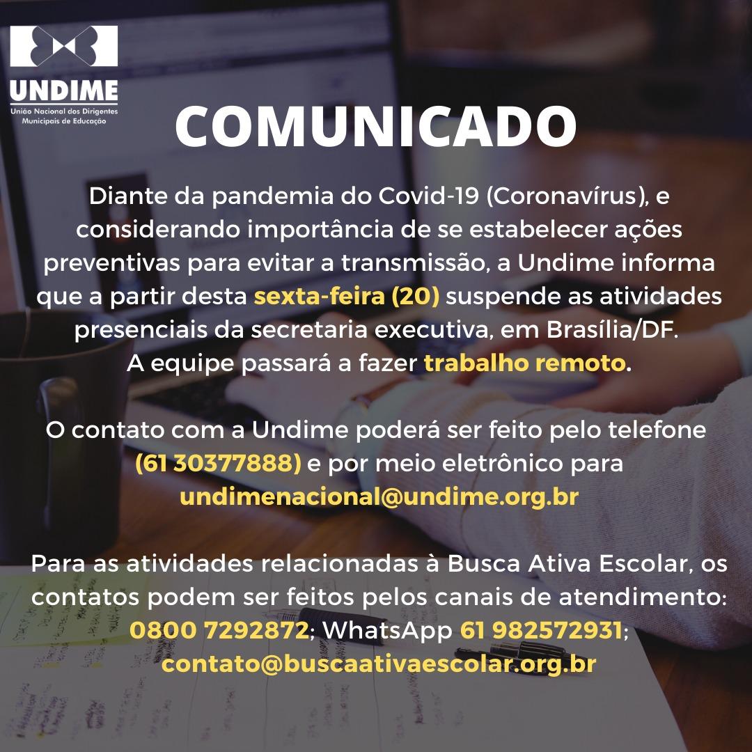 Como medida preventiva, Undime suspende atividades presenciais da secretaria executiva em Brasília