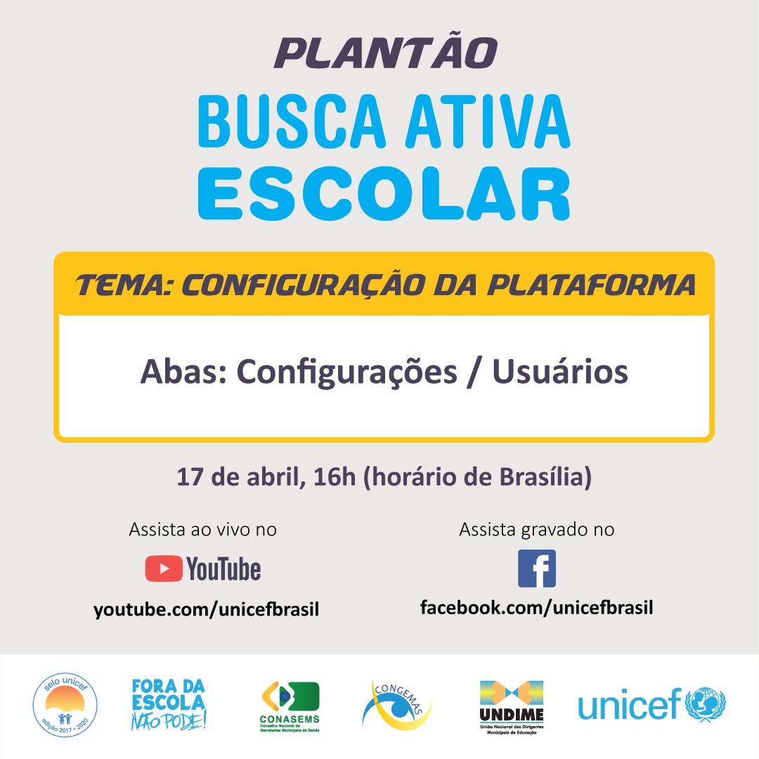 Plantão da Busca Ativa Escolar desta quarta-feira (17) aborda as configurações da plataforma