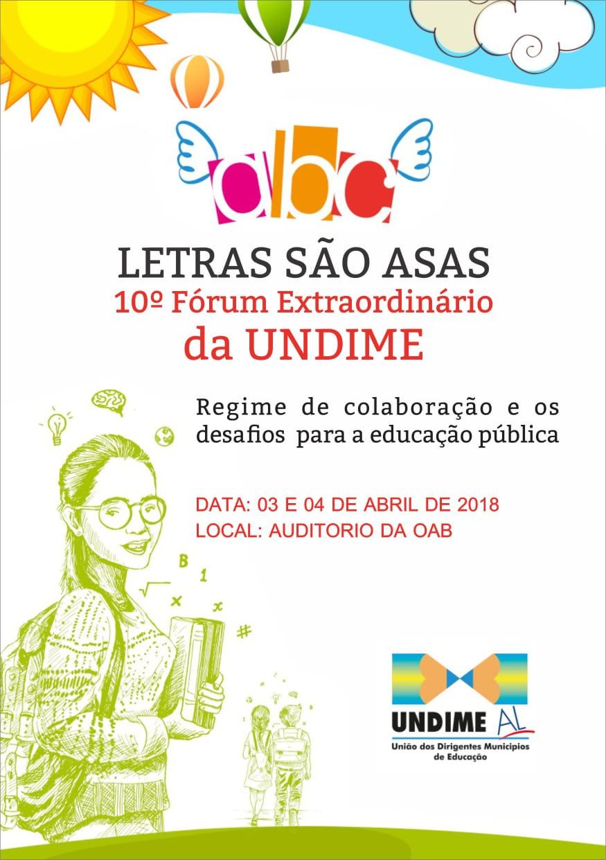 Fórum da Undime Alagoas será nos dias 3 e 4 de abril, em Maceió