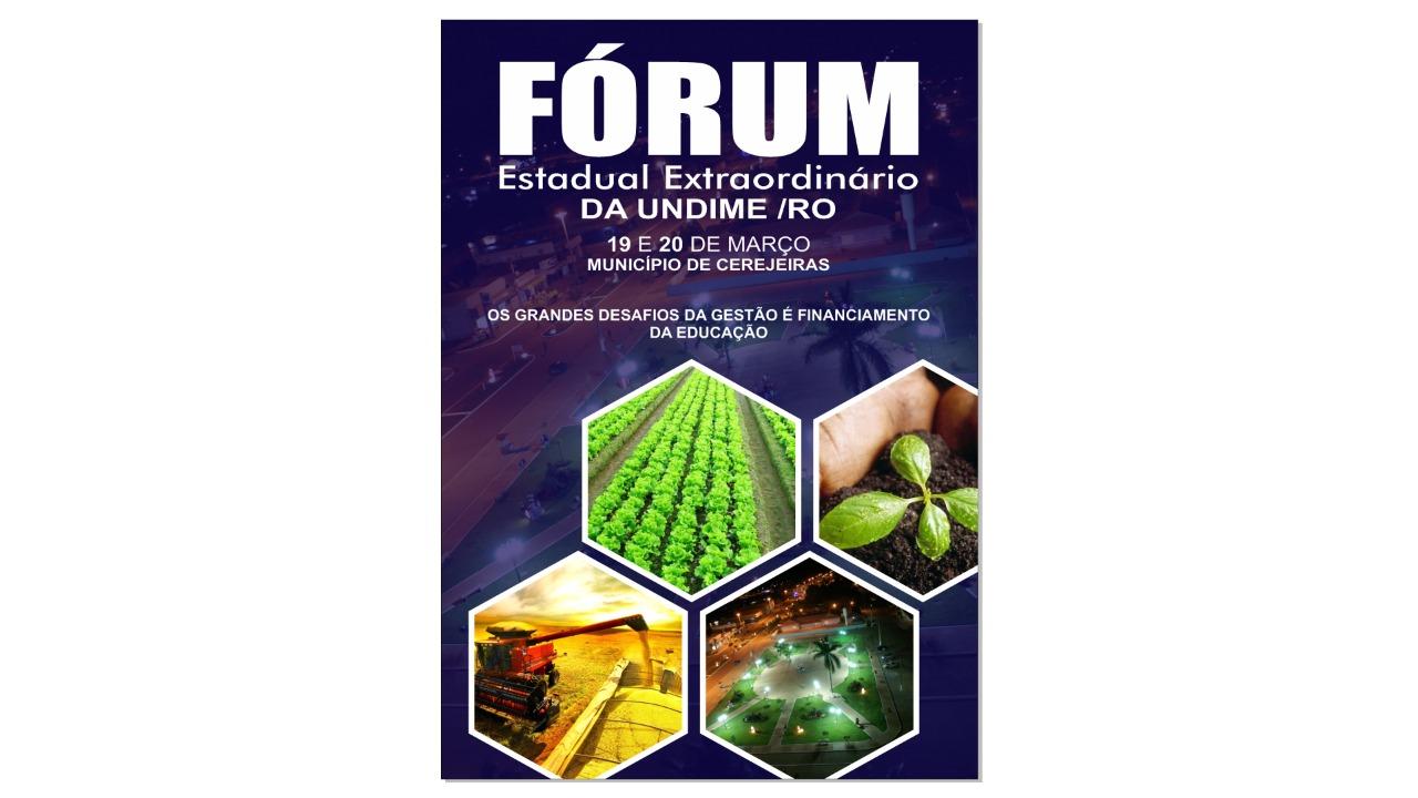 Fórum Estadual da Undime Rondônia será nos dias 19 e 20 de março