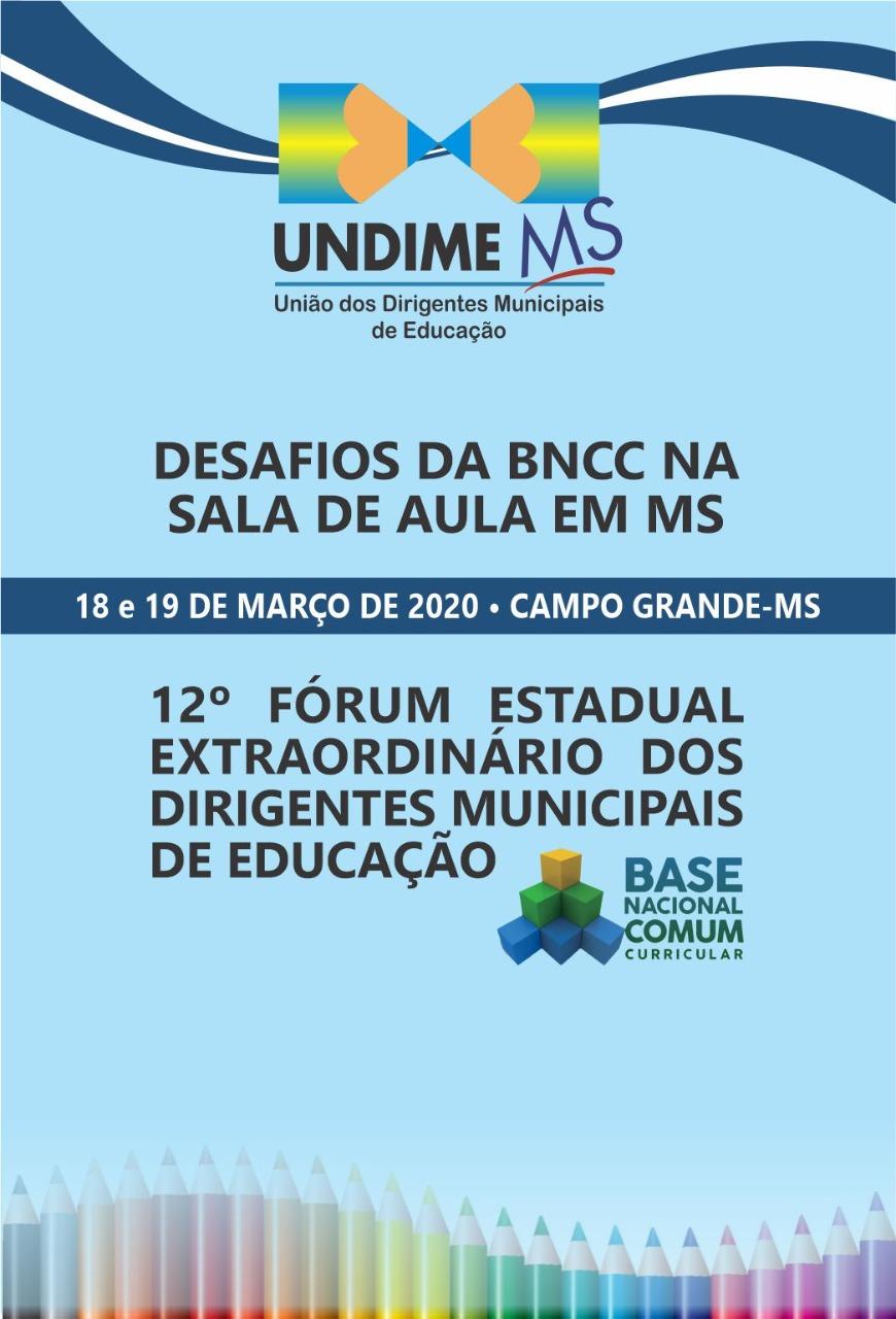 Undime Mato Grosso do Sul realiza fórum extraordinário nos dias 18 e 19 de março