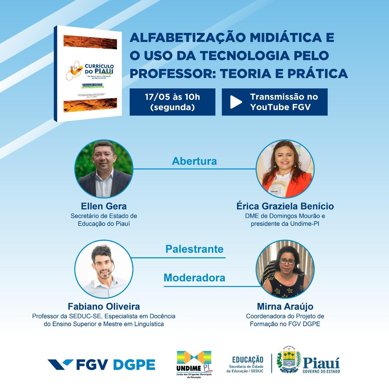 Undime-PI e Seduc-PI, em parceria com a FGV, promovem Webinar voltado para educação tecnológica de professores