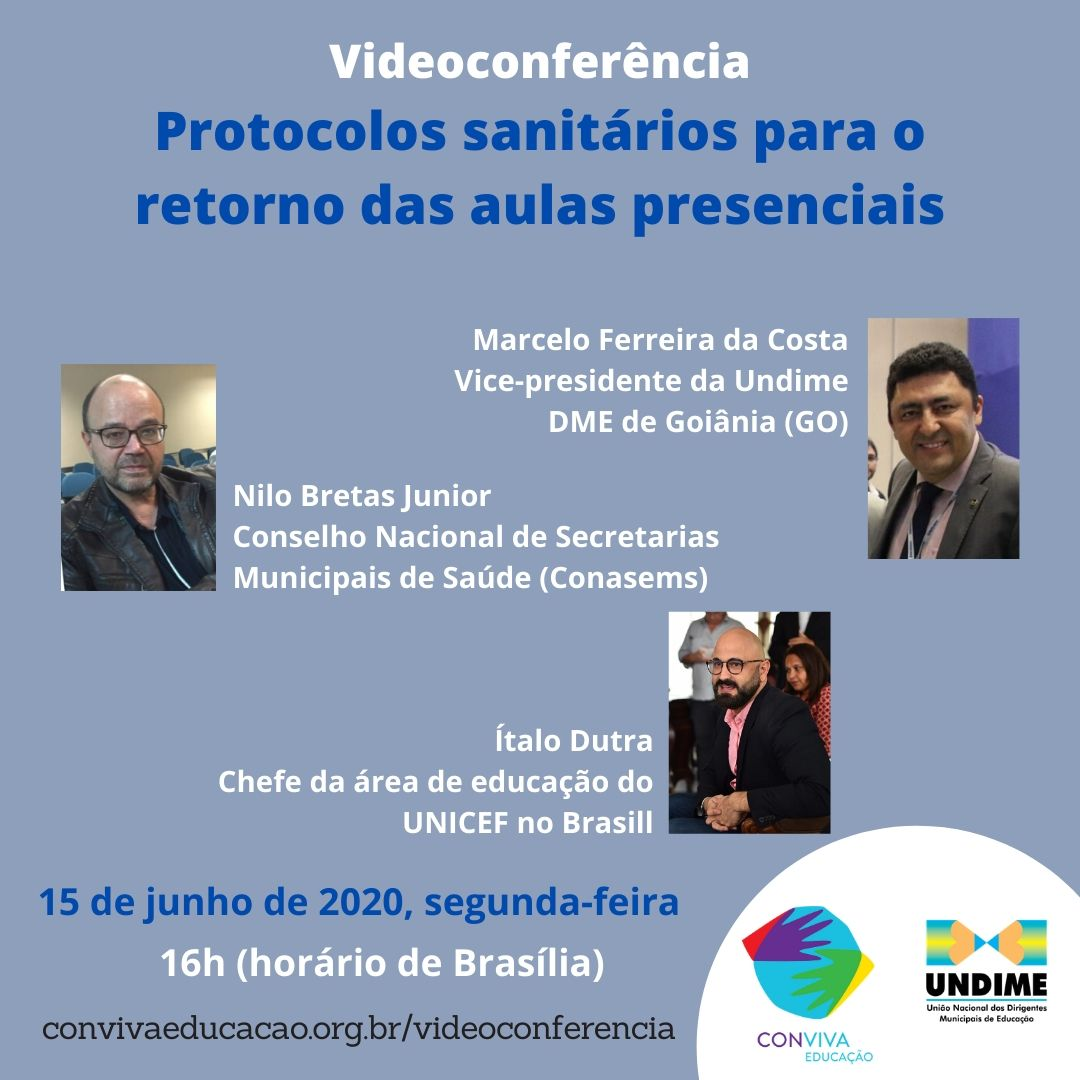 Conviva promove, na próxima segunda (15), videoconferência sobre protocolos para o retorno das aulas