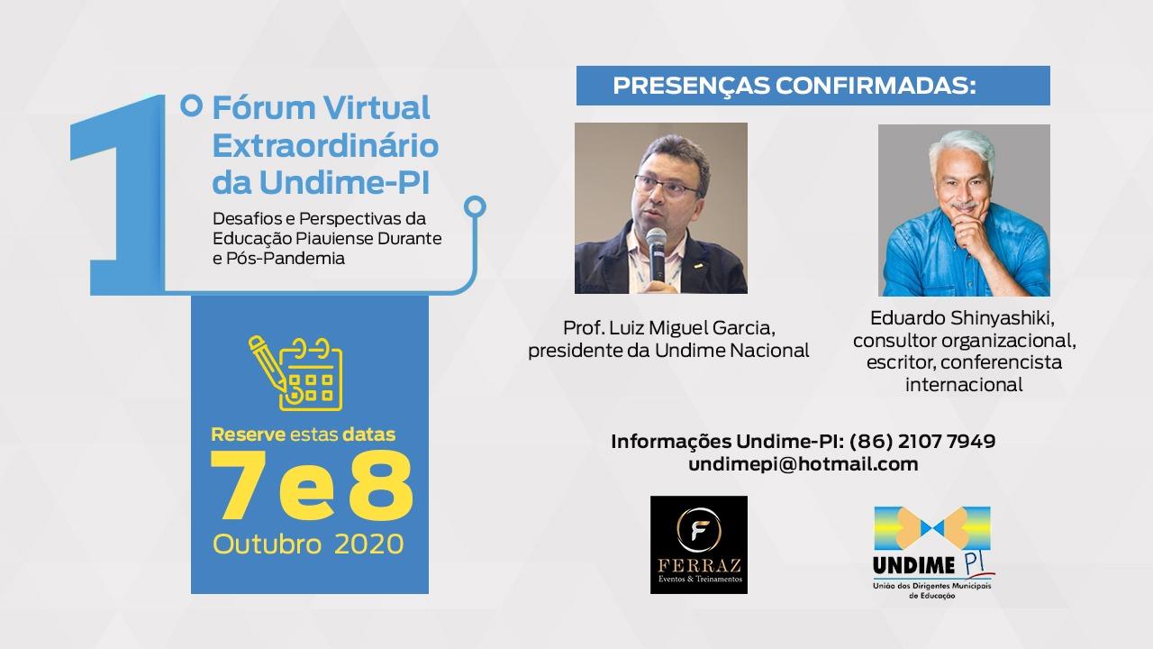 Abertas inscrições para I Fórum Virtual Extraordinário da Undime Piauí