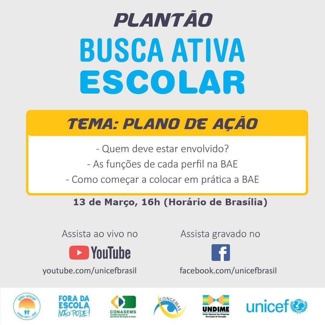 Terceiro Plantão da Busca Ativa Escolar acontece na próxima quarta-feira (13)