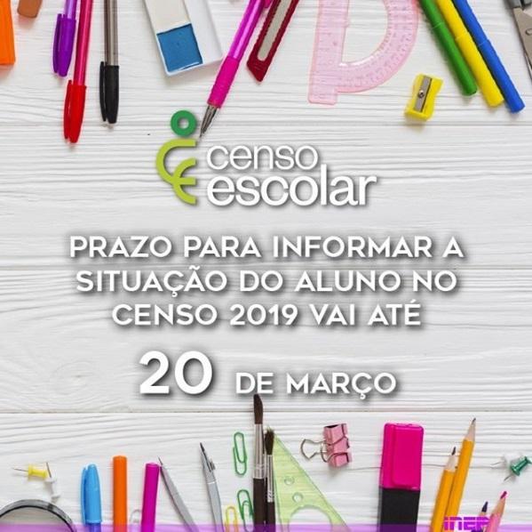 Prazo para informar a Situação do Aluno no Censo 2019 vai até 20 de março