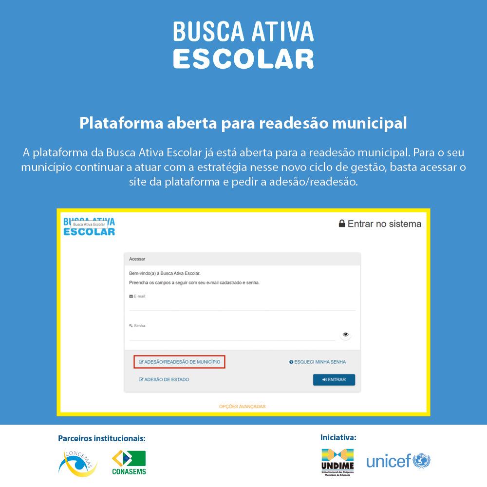 Busca Ativa Escolar: plataforma está aberta para readesão municipal