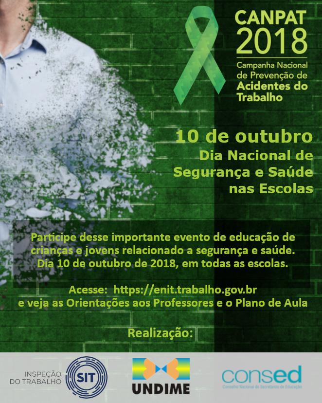 Ministério do Trabalho realiza campanha para o Dia Nacional de Segurança e Saúde nas Escolas