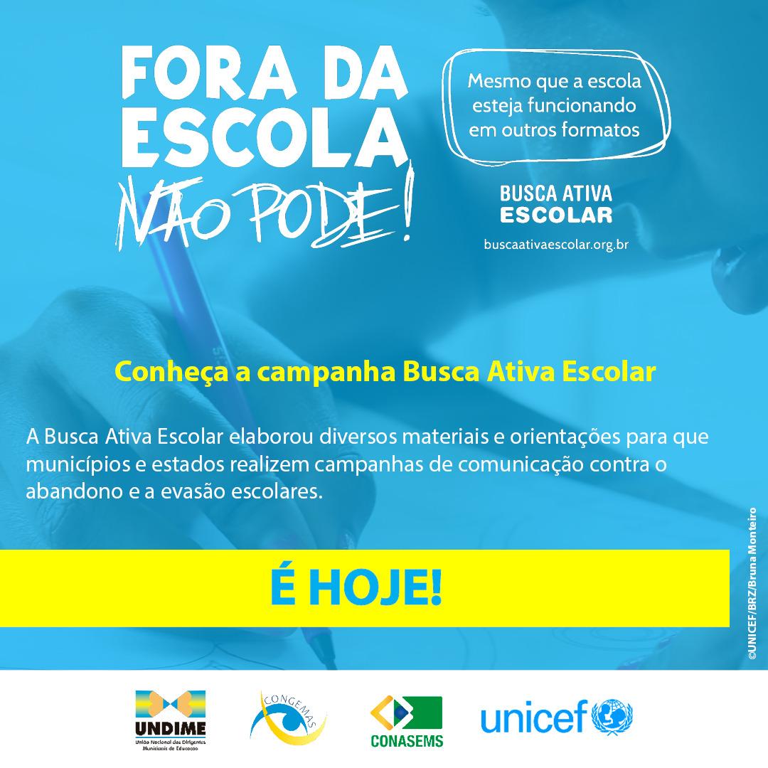 Busca Ativa Escolar lança campanha contra o abandono e a evasão escolares