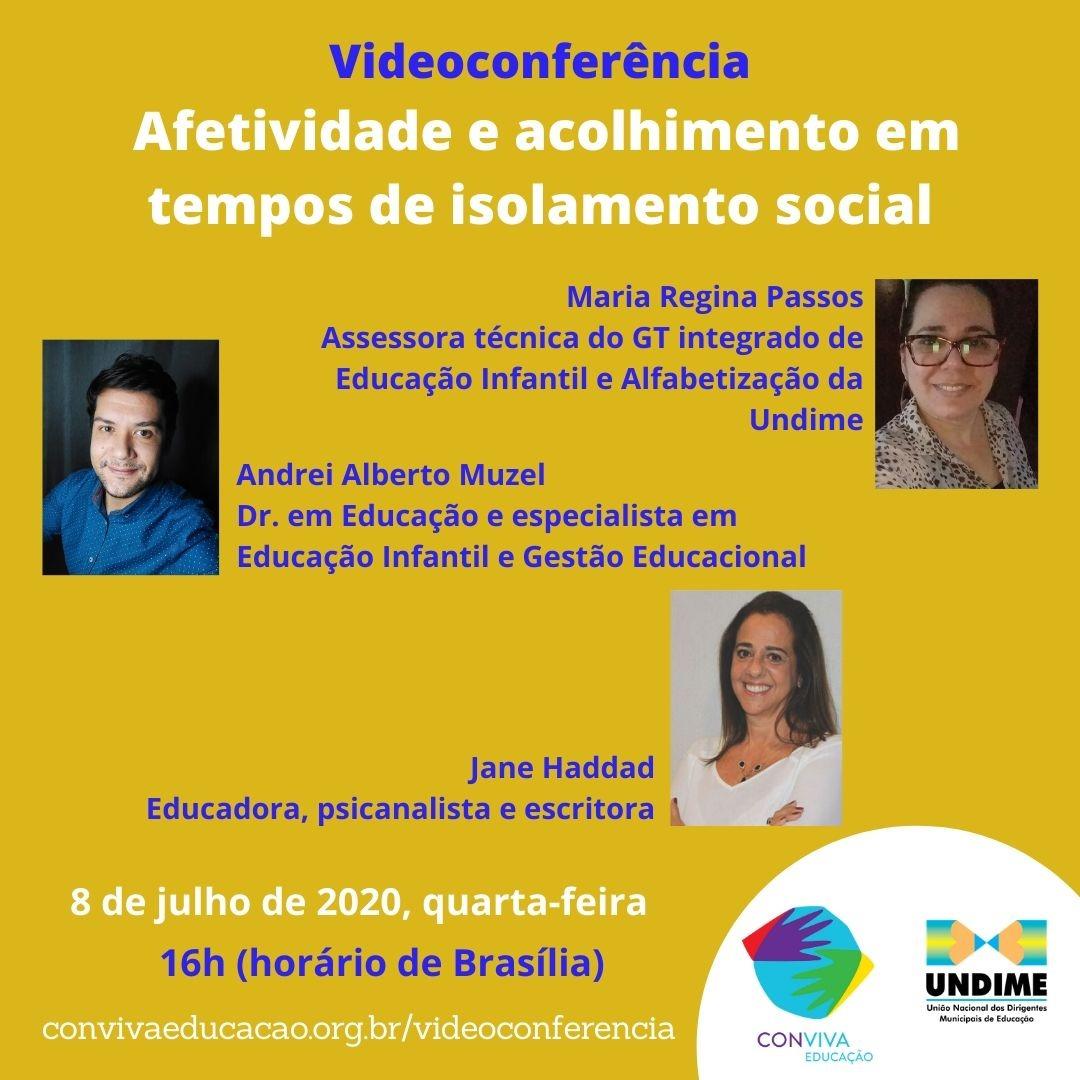 Conviva promove videoconferência sobre afetividade e acolhimento em tempos de isolamento social nesta quarta-feira
