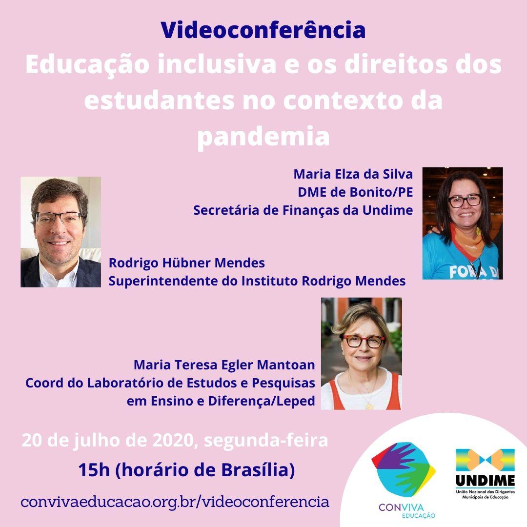 Educação inclusiva e os direitos dos estudantes no contexto da pandemia é o tema da próxima videoconferência do Conviva