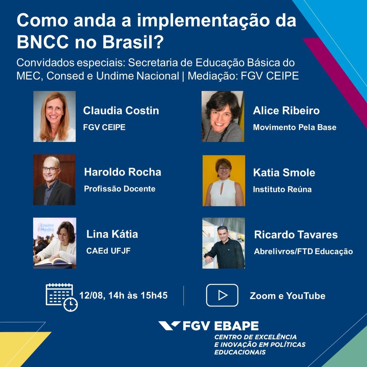 Fundação Getúlio Vargas discutirá a implementação da Base Nacional Comum Curricular em webinário