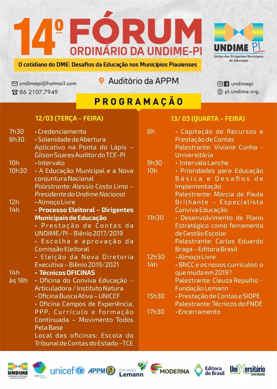 Teresina sedia Fórum da Undime Piauí nos dias 12 e 13 de março