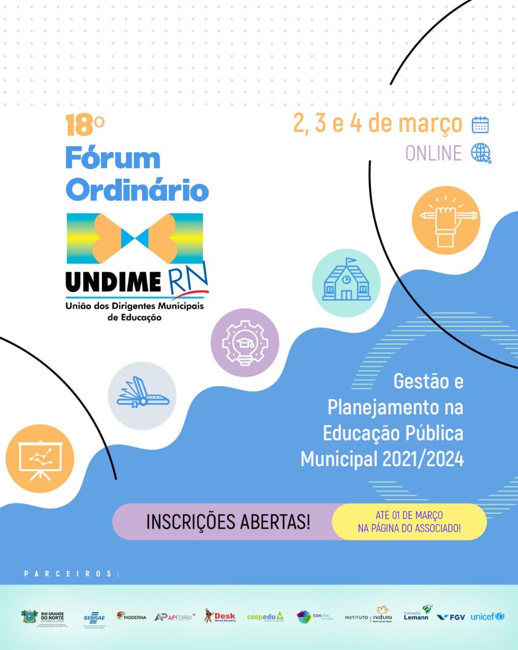 Inscrições abertas para o 18º Fórum Ordinário da Undime RN
